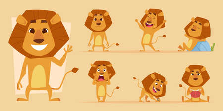 Lion cartoon. Wild african animal in action poses safari lions characters vector isolated. Lion predator happiness and scary, hungry and friendly mascot illustration