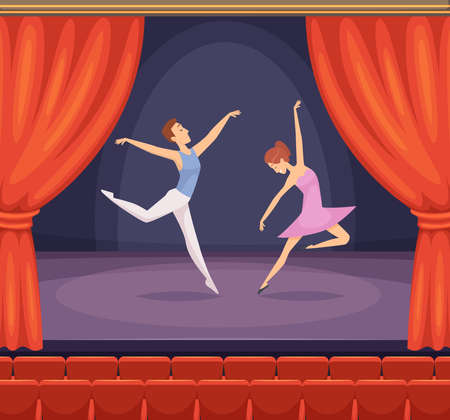 Ballet stage. Dancer male and female dancing on stage vector beautiful background with red curtains in theatre. Stage with dancing ballet performance, young girl and boy at concert illustration