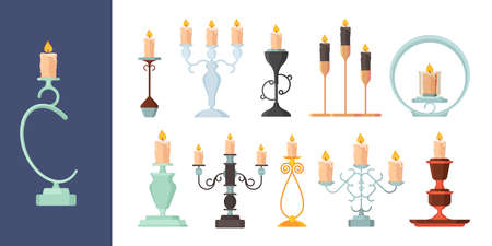 Candlestick. Burning fire on candle holder vintage metal candelabrum ancient decoration vector collection. Illustration candlelight illuminate, melting candle collection