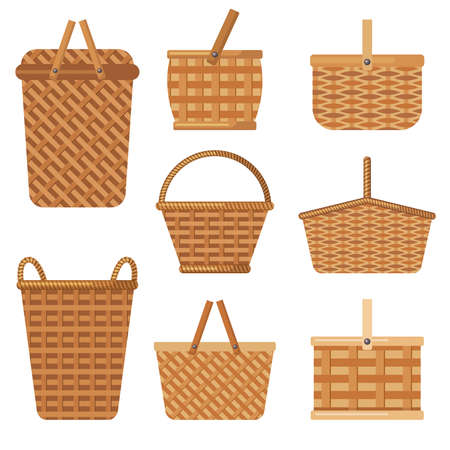 Decorative basket. Handcraft basket for products boxes for camping holiday hampers vector collection. Basket hamper to relaxation picnic, eco bag wicker illustration