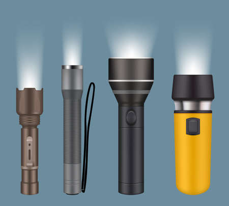 Flashlights. Electric handy flashlights for camping night searching lamp vector realistic collection. Illustration flashlight electric with battery, spotlight lamp portable