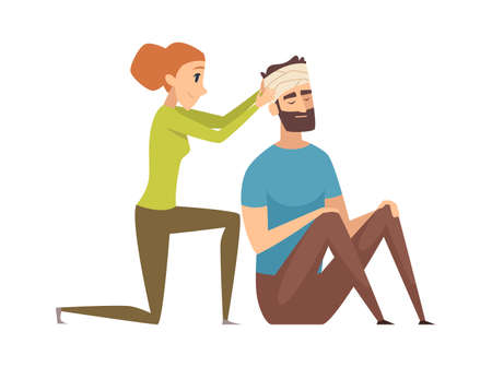 Head injury. Man with bandage needs help. Nursing or first aid, medical worker and patient vector illustration. Injury man head with bandage, emergency aid after accident