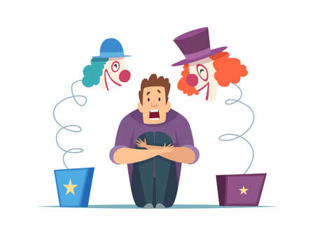 Nervous man. Male in panic, fear of clowns. Isolated screaming guy, frightening circus toys vector illustration. Fear clown and horror evil, phobia fright Ilustração