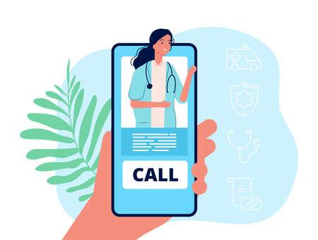Telemedicine. Hand holding phone, medical mobile service. Remote doctor consultation vector concept. Illustration doctor online, consultation and care remote Vettoriali