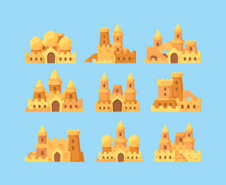 Sandcastles for kids. Vacation activities children builders making sandcastles fortress palace near ocean vector cartoon. Fortress childhood, cartoon making palace illustration
