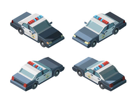 Police car. Emergency isometric vehicles different views police chase vector. Transport emergency police car, vehicle isometric and 3d automobile illustration