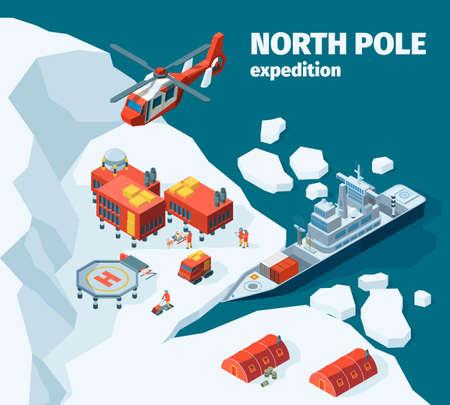 Meteorological north station. Polar north pole background explorer tourism antarctica buildings vector isometric. Ice sea shore with equipment for exploration illustration Vektorgrafik