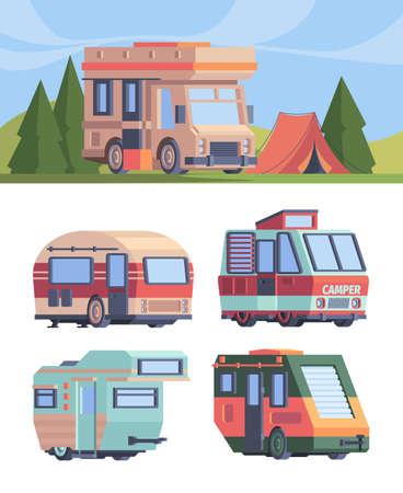 Camper van. Vector explorer truck vehicle for travellers motorhomes vector set in flat style. Illustration travel camper auto, van motor home for traveler Vettoriali