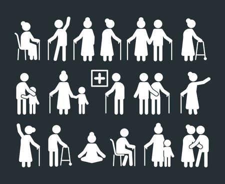 Seniors pictogram. Elderly people standing in various poses old parents insurance humans vector symbols. Illustration grandparent generation, elderly character silhouette, retirement parents