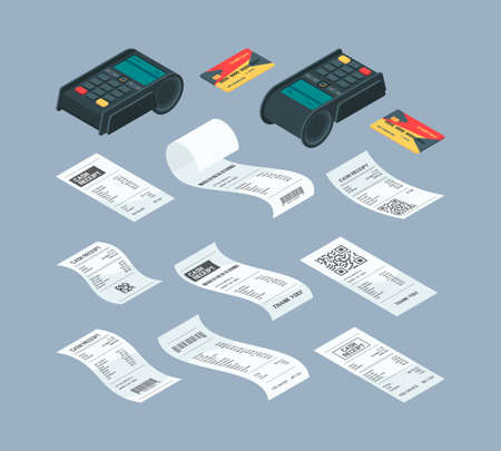 Payment terminal isometric. Purchase billing financial paper check and buying machine for nfc card payment bank comunication vector illustrations. Check payment terminal, credit card transaction 矢量图像