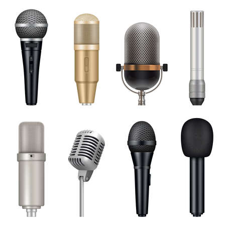 Microphones realistic. Audio studio equipment for singing and talking vector templates set. Studio karaoke tools, speech entertainment vocal mic for record illustration 向量圖像