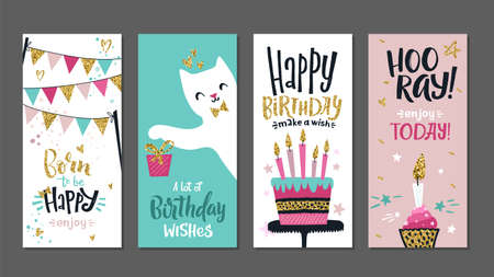 Birthday cards. Gift posters, cute greetings banners template. Art typography designs with lettering and golden glitters elements vector set. Gift birthday headline, celebration postcard illustration 向量圖像