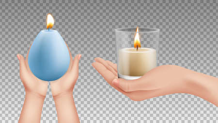 Hands holding candles. Realistic lights, religion symbols. Holiday decorative lighting vector elements. Candle light in hand, flame holding hand illustration