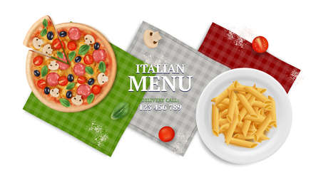 Italian menu banner. Pizza pasta on plate, napkins and tomato. Realistic food, italy restaurant or cafe vector illustration. Italian menu with pizza and pasta, cooking restaurant banner Stock fotó - 157766560