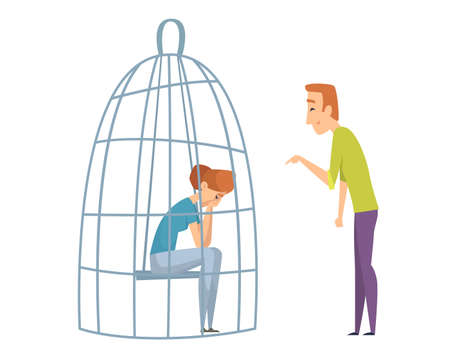 Sad woman in cage. Domestic violence, man laughing sad girl. Wife husband, unhealthy family vector illustration. Girl in cage, woman loneliness, alone character concept
