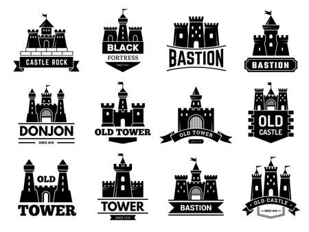 Medieval fortress with towers vector badges or logotypes set. Illustration castle logotype, bastion collection