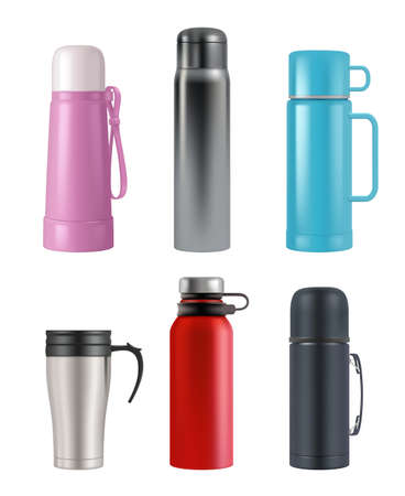 Realistic cup round containers vacuum flask for liquid products vector 3d set. Illustration vacuum flask, vacuum-bottle with handle Vector Illustratie