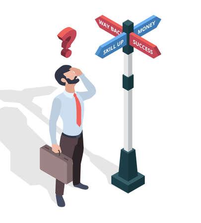 Businessmen choosing destination. Direction arrows pathway man looking on signboards vector isometric concept. Illustration destination way, business challenge choose