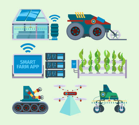 Smart farm. Unmanned farming agriculture innovations digital energy smart industry vector flat pictures set. Agriculture industry innovation, smart equipment farming illustration Vector Illustratie