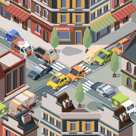 Crossroad accident. Injury trouble urban cars police crash transport on road bus traffic vector isometric. Road car accident intersection, crossroad traffic crash illustration Ilustração Vetorial