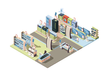 Retail electronics market. Isometric shop interior with appliances hardware tablets pc electrical technic vector. Illustration retail interior, vector isometric supermarket