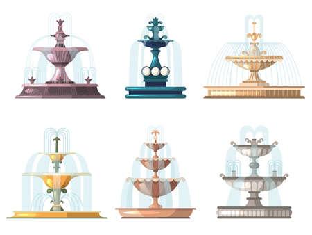 Cartoon fountains. Outdoor gardening decorative symbols nature water fountains vector collection. Park outdoor fountain, collection decorative city landscape illustration