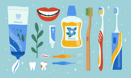 Dentist accessories. Oral dental hygiene items mouth brush apples cleaning tools teeth vector set. Medical dentist equipment for care and clean illustration