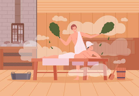 Sauna background. Spa relax warm therapy people hot steam in sauna bathing characters vector cartoon illustration. Spa and sauna steam, wooden relaxation therapy Vector Illustratie