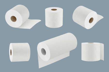 Toilet paper. White soft kitchen towel roll for hygiene 3d realistic templates vector collection. Toilet soft wipe, realistic roll for sanitary illustration