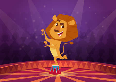 Lion in circus. Wild angry lion acrobat jumping in fire circle circus performer show vector cartoon background. Illustration lion circus animal, wild mammal