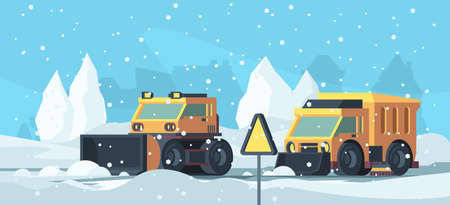 Snow removal. Heavy trucks cleaning urban road from snowstorm vector cartoon background. Illustration snow heavy truck, machine equipment plowing