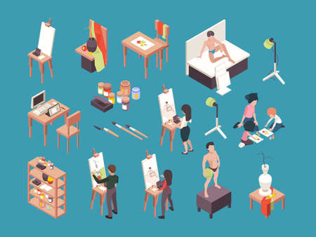 Artist accessories. People painters making picture with brushes and paint crafting vector artists isometric. Art hobby or craft, equipment and instrument illustration Stockfoto - 159051689