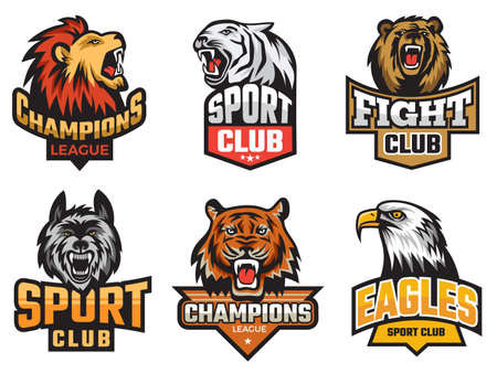 Sport emblem pack. Wild animals stylized picture for team badges shields with mascots animals wolf bear vector. Illustration emblem animal badge, beast mascot for sport team
