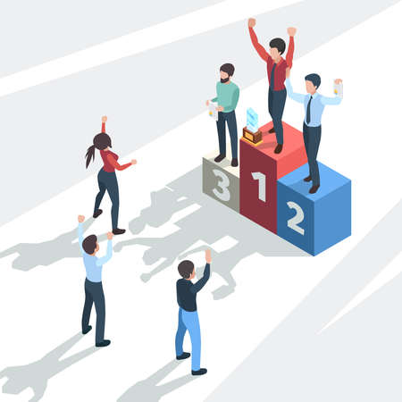 Successful business winners. Award team business company managers professional happy confident persons employees vector isometric concept. Illustration teamwork company with prize, reward winner