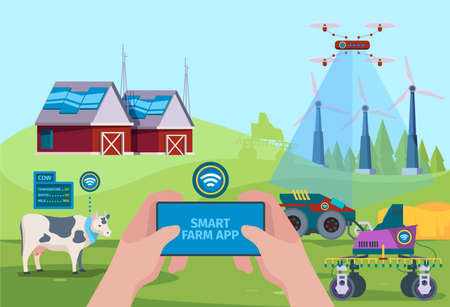 Farmers drones. Background with smart gardening automation vehicle for help farmers nature future technology vector. Illustration smart harvesting, vehicle farming