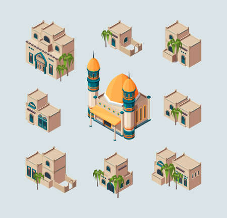 Traditional arabic buildings. Eastern sandy desert cultural authentic houses vector isometric collection. Illustration arabic mosque and isometric authentic house 向量圖像