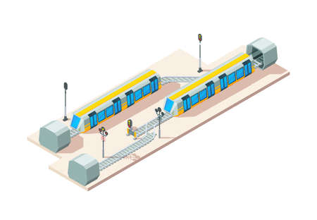 Railway junction. Train railroads business transportation company vector isometric concept. Illustration railroad and railway route junction isometric style