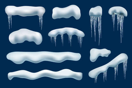 Winter snow cap. Roof decoration frozen shapes christmas piles icicles vector realistic collection. Illustration roof ice, snow frost caps, winter frozen top