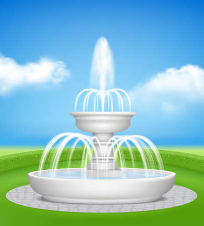 Fountain in garden. Water jet splashes spray on decorative grass outdoor realistic fountains vector background. Illustration fountain architecture for park outdoor or garden design