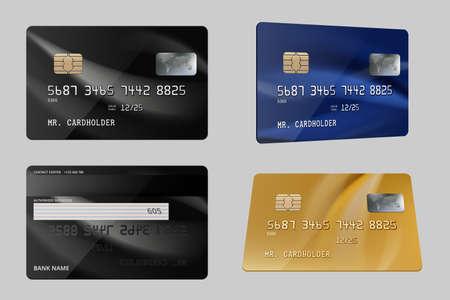 Debit cards. Plastic bank financial credit cards realistic template. Illustration plastic card, financial debit for business Vektoros illusztráció