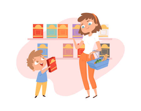 Shopping with child. Mother son in grocery store. Woman with shop basket, boy cornflakes box. Cartoon family in food market, cute customers vector illustration. Mother and son choosing food in grocery 矢量图像