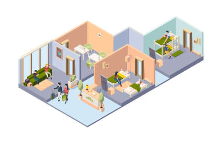 Hostel interior. Different rooms in hotel for students bedrooms restroom dining room with guest relaxing travellers vector isometric illustration. Hostel interior and hotel room with furniture