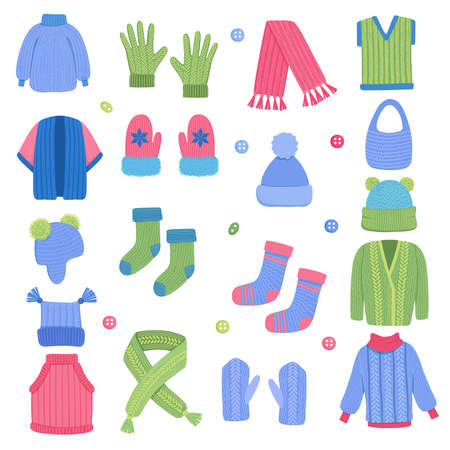 Winter clothes. Fabric knitting stylish wardrobe scarf woolen coat cardigan wear clothes vector set. Illustration fabric accessory, christmas textile clothing