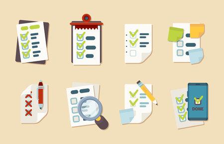 Checklist icons. Notepad schedule customer marks research clipboard vector business checklist collection. Illustration checklist and check clipboard Ilustración de vector