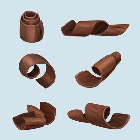 Shaving chocolate. Gourmet products delicious food dark curl of chocolate vector realistic illustrations. Chocolate piece delicious shaving, product ingredient collection curl