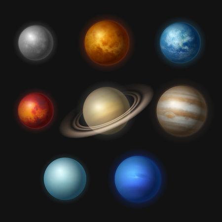 Planet systems. Realistic universe objects stars systems astronomy moon gravity jupiter vector collection. Illustration mars and jupiter, realistic solar planetary cosmos Vektoros illusztráció