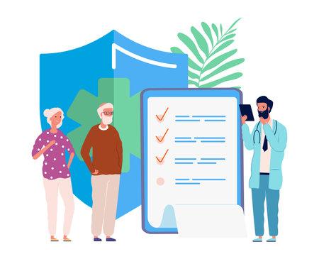 Health insurance for seniors. Medical service, elderly people exam in hospital. Doctor for old person vector illustration. Medical insurance senior people, health care buisness Vektorové ilustrace