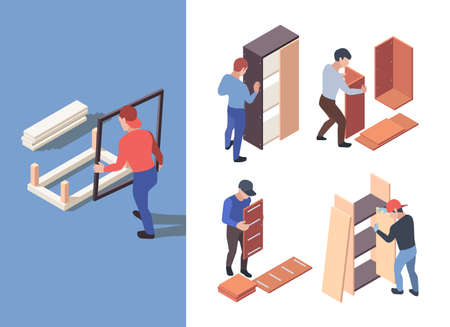 Furniture assembly. People crafting wooden furnitures with instructions garish vector isometric characters workers. Illustration assembly furniture, making interior by handyman