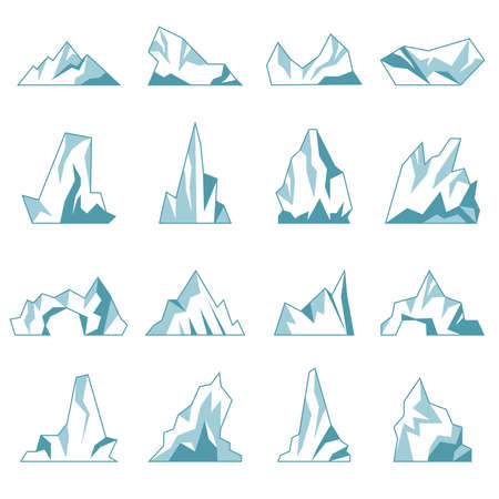 Iceberg. North pole hills winter mountains in ocean freezing ice rock snow recent vector collection. Antarctic north ice freeze, adventure landscape and elements to panorama illustration