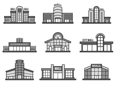 Retail stores symbols. Supermarket icons shopping mall facade building exterior structure monochrome recent vector pictures. Facade retail, supermarket and store, shop architecture illustration
